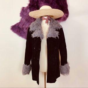 Vtg 90s Leather Suede Vegan Fur Festive Coat SM